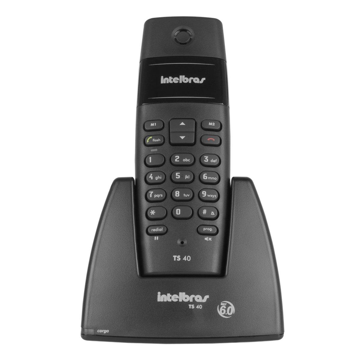 Telefone Sem Fio Intelbras Dect 6.0 Digital TS 40 - Preto  - ShopNoroeste.com.br