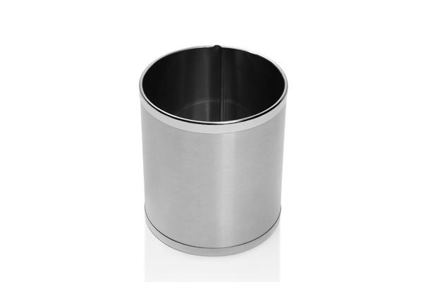 Cesto para Lixo Inox Escovado Acabamento em Inox Polido 9,8 Litros - Só Lixeiras  - ShopNoroeste.com.br