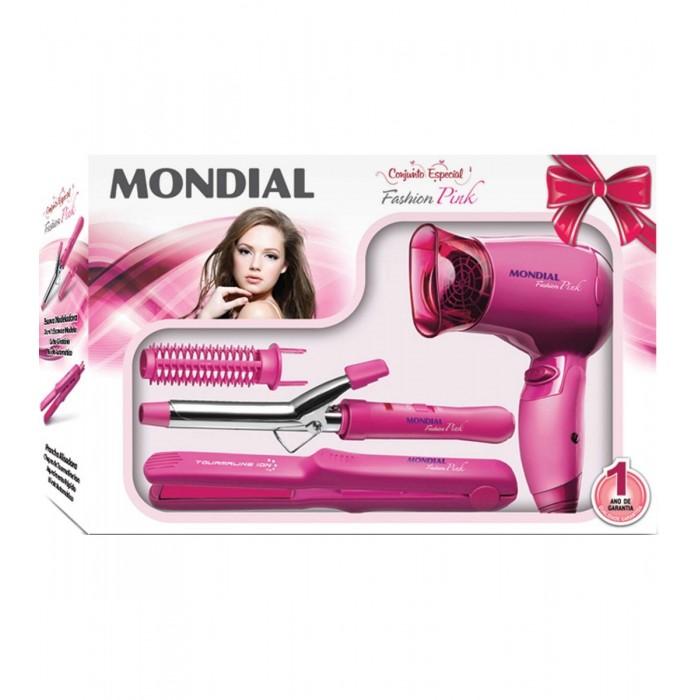 Conjunto Especial Fashion Pink, Prancha + Escova Modeladora + Secador- NKT-20 Bivolt - Mondial  - ShopNoroeste.com.br