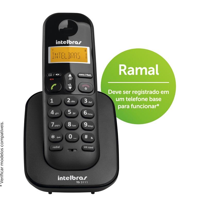 Ramal sem Fio Intelbras TS 3111 Preto - Para Bases TS 40 ID, TS 60 V, TS 3110 ou TS 3130  - ShopNoroeste.com.br