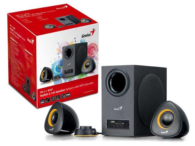 SubWoofer Genius 2.1 SW-2.1 800P 20W RMS c/ Entrada USB/SD, FM e MP3 - Preto - 31731051100  - ShopNoroeste.com.br