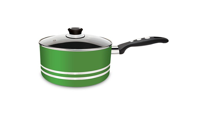 Panela Antiaderente Clarity Green 3mm com Tampa de Vidro 18cm - Eirilar  - ShopNoroeste.com.br