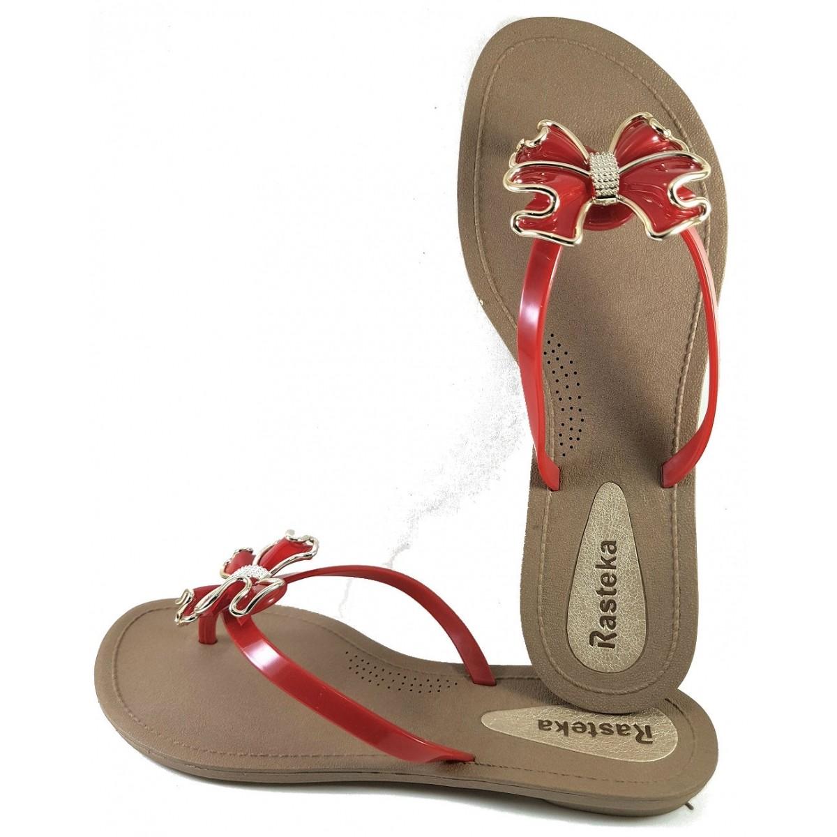 Sandália Rasteira Rasteka Super Confortável - Laço Vermelho e Dourado, Solado Bege e Tiras Vermelhas  - ShopNoroeste.com.br