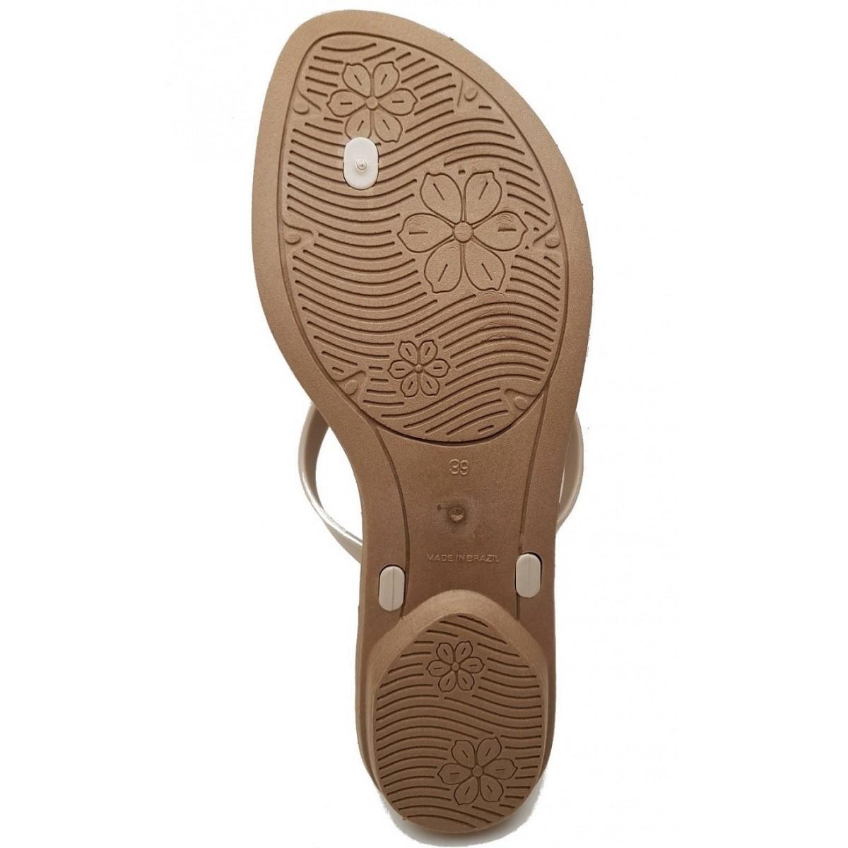 Sandália Rasteira Rasteka Super Confortável - Laço Creme e Dourado, Solado Bege e Tiras Creme  - ShopNoroeste.com.br