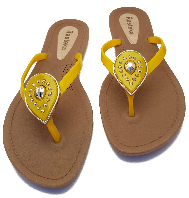 Sandália Rasteira Rasteka Super Confortável - Gota Amarela com Dourado, Solado Bege e Tiras Amarelas  - ShopNoroeste.com.br