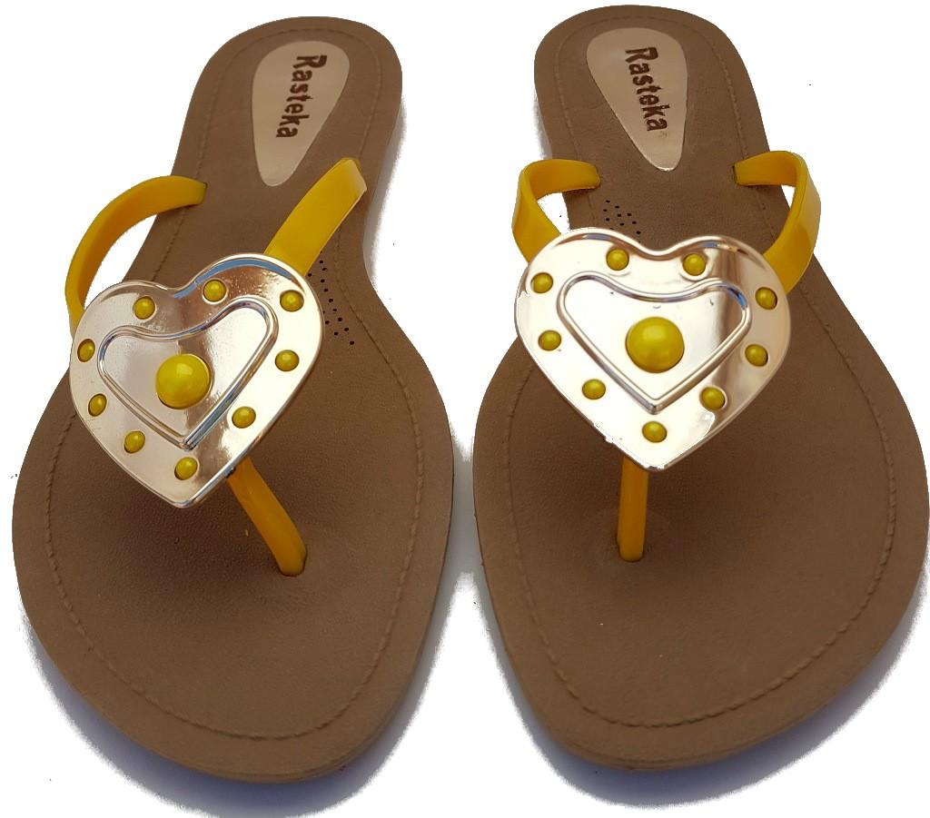Sandália Rasteira Rasteka Super Confortável - Coração Amarelo com Dourado, Solado Bege e Tiras Amarelas  - ShopNoroeste.com.br