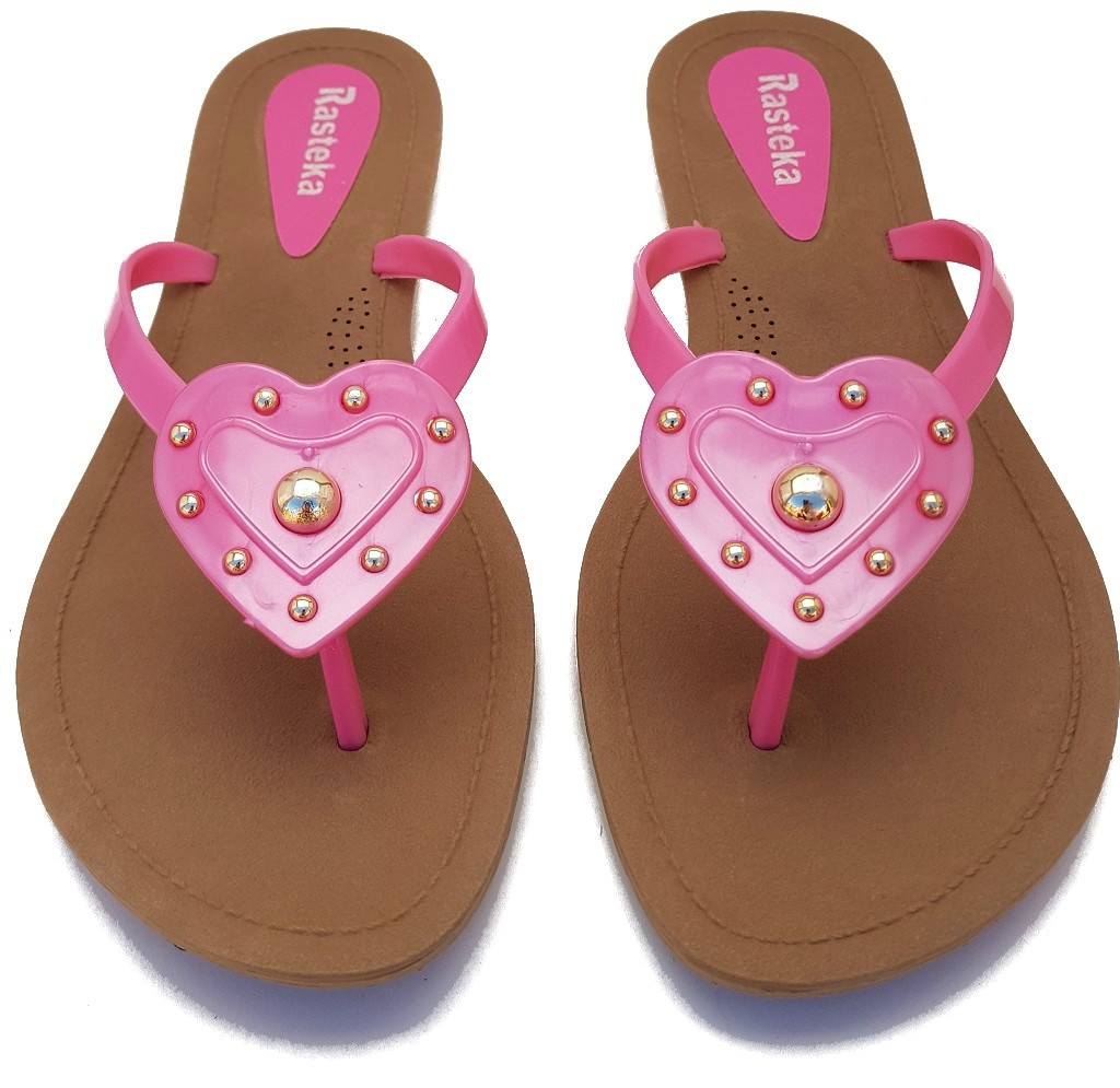 Sandália Rasteira Rasteka Super Confortável - Coração Rosa com Dourado, Solado Bege e Tiras Rosas  - ShopNoroeste.com.br