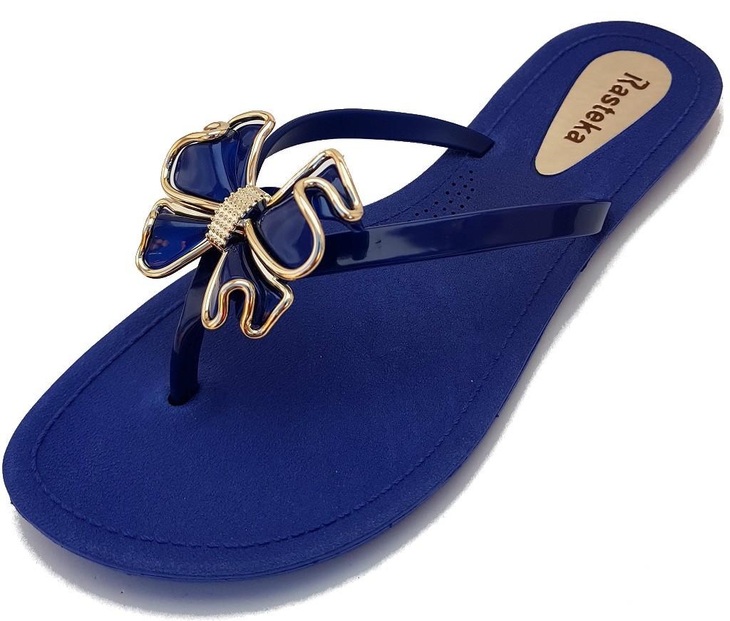 Sandália Rasteira Rasteka Super Confortável Azul Laço Azul e Prata  - ShopNoroeste.com.br