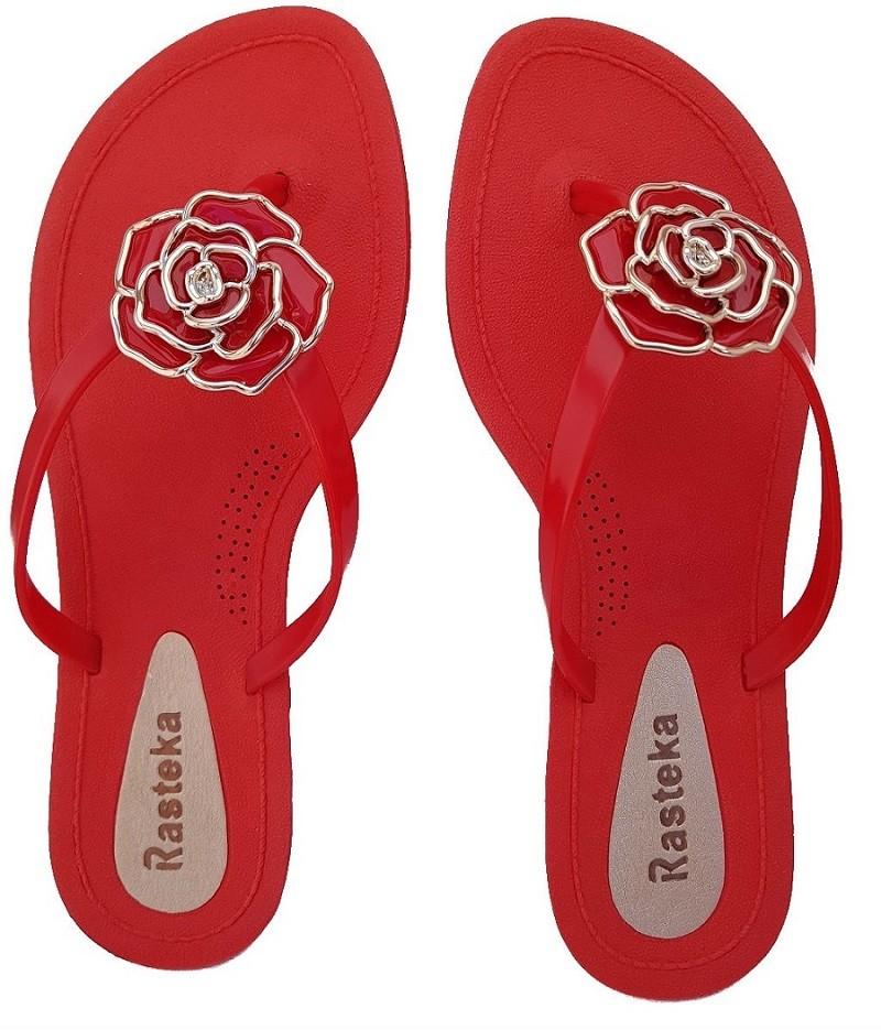 Sandália Rasteira Rasteka Super Confortável Vermelha Flor Vermelha e Prata  - ShopNoroeste.com.br