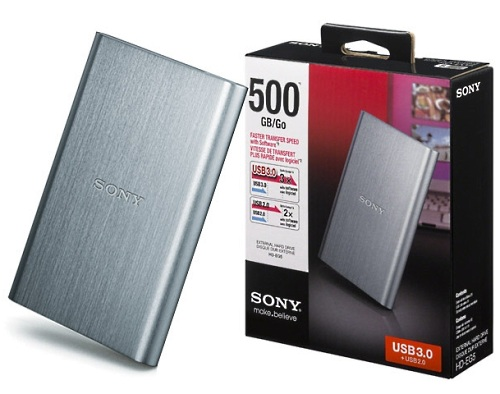 HD Sony Externo USB 3.0 500GB - HD-EG5/SCD Prata  - ShopNoroeste.com.br