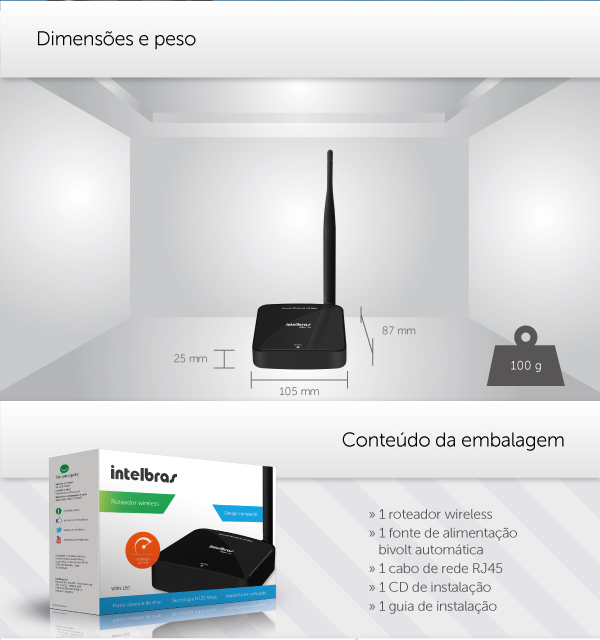 Roteador IntelBras Wireless N 150Mbps WRN 150  - ShopNoroeste.com.br