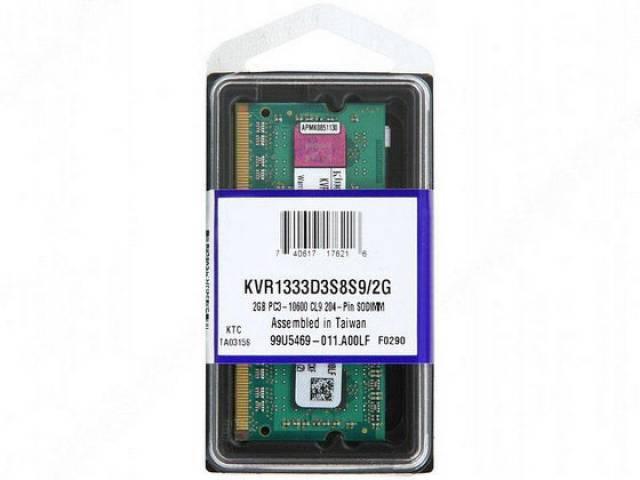 Memória Kingston KVR1333D3S8S9 2048 MB Notebook DDR3 1333 MHz  - ShopNoroeste.com.br