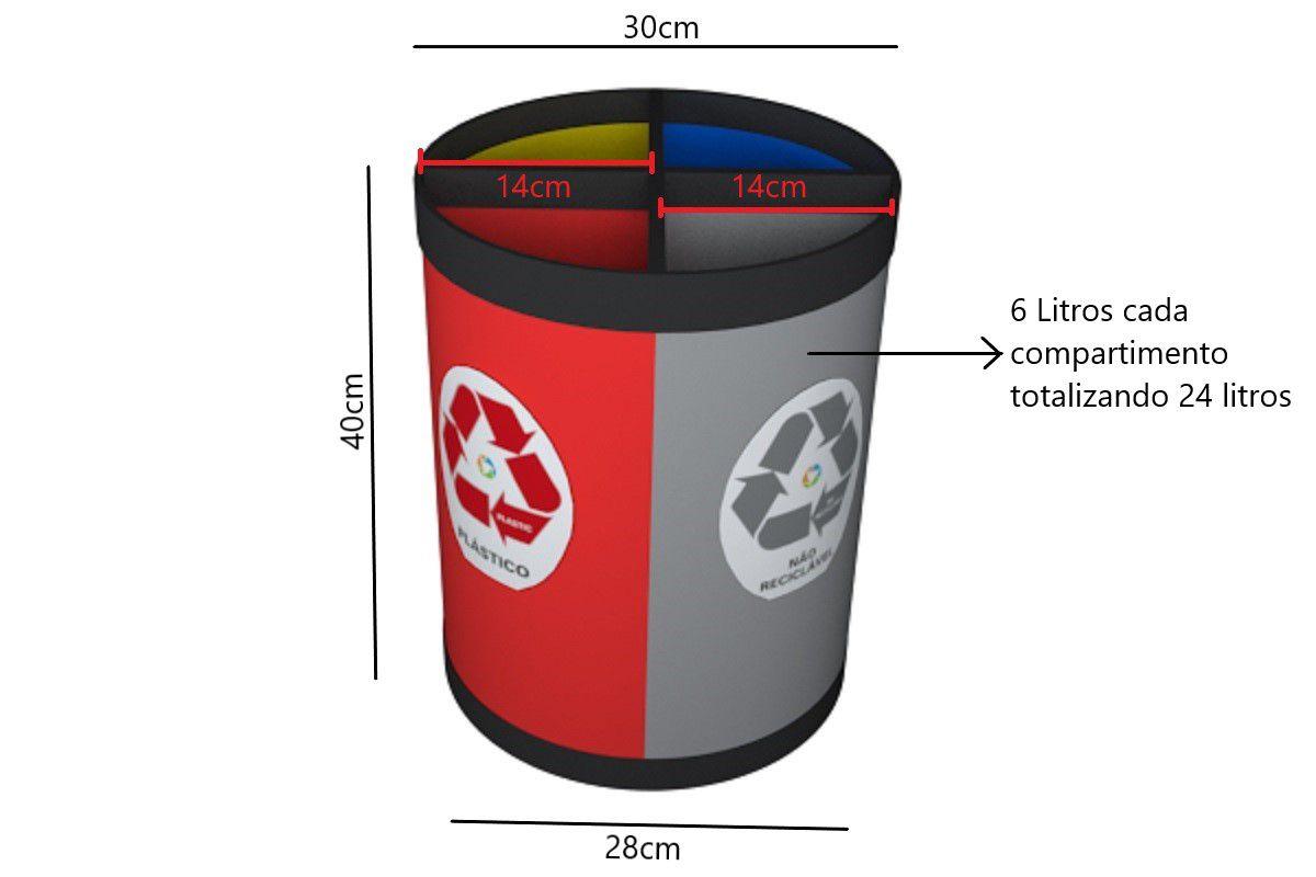 Cesto Coleta Seletiva 24 Litros 4 Partes Vidro Metal Plástico e Não Reciclável Só Lixeiras  - ShopNoroeste.com.br
