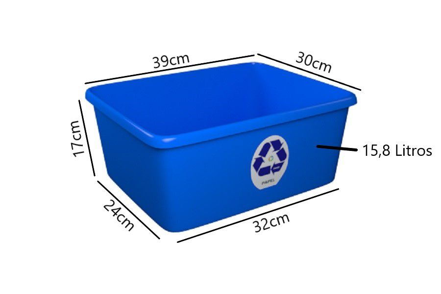 Cesto para Papel Caixinha Só Lixeiras 15,8 Litros Azul  - ShopNoroeste.com.br