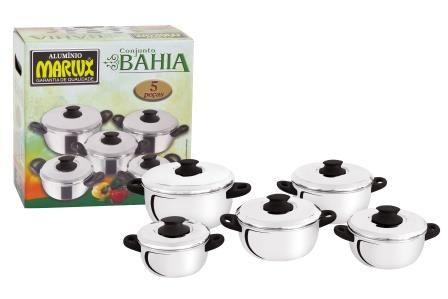 Jogo de Panelas Bahia 5 Peças Polido - Marlux  - ShopNoroeste.com.br