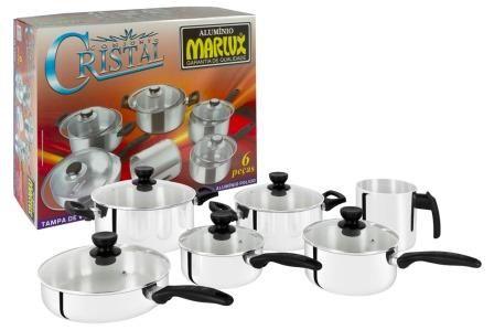 Jogo de Panelas Cristal 6 Peças Super Resistente Polido - Marlux  - ShopNoroeste.com.br