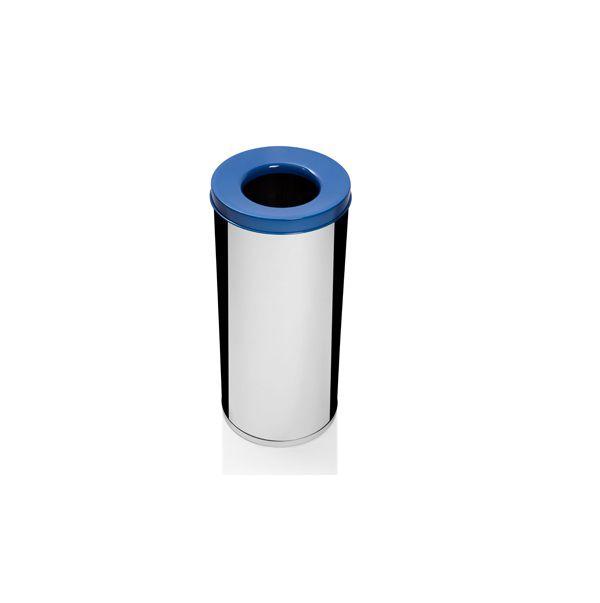 Lixeira Inox Com Abertura Superior 19,5 Litros Papel Azul - Só Lixeiras  - ShopNoroeste.com.br