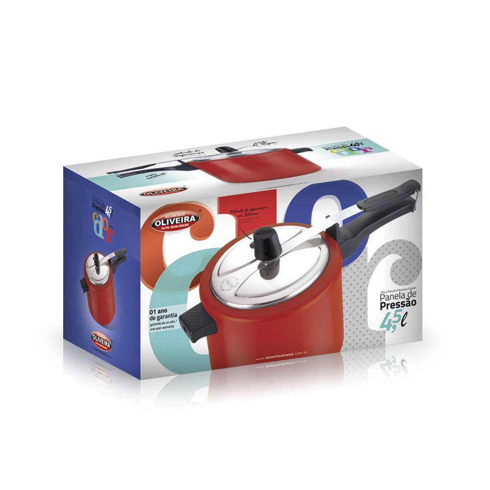 Panela de Pressão Oliveira Antiaderente 4 litros e Meio Vermelha Tampa Polida  - ShopNoroeste.com.br