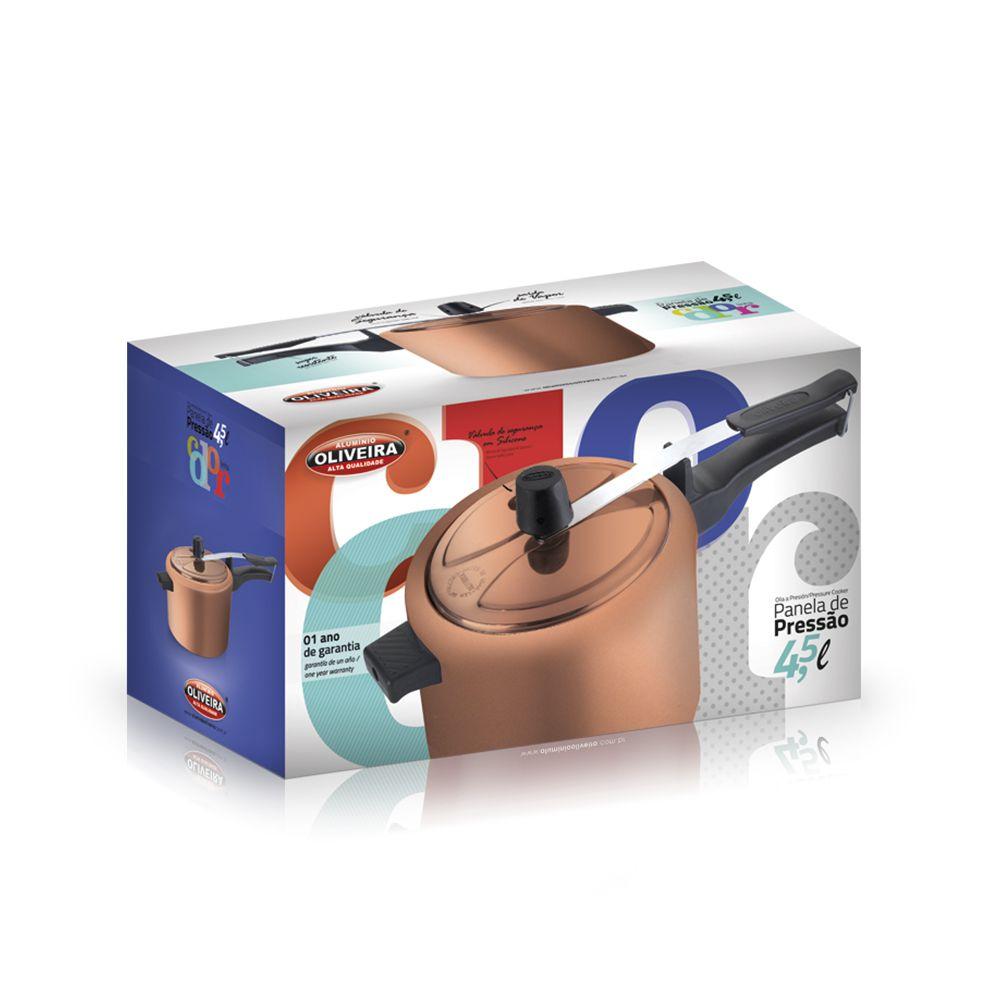 Panela de Pressão Oliveira Antiaderente 4 litros e Meio Cobre  - ShopNoroeste.com.br