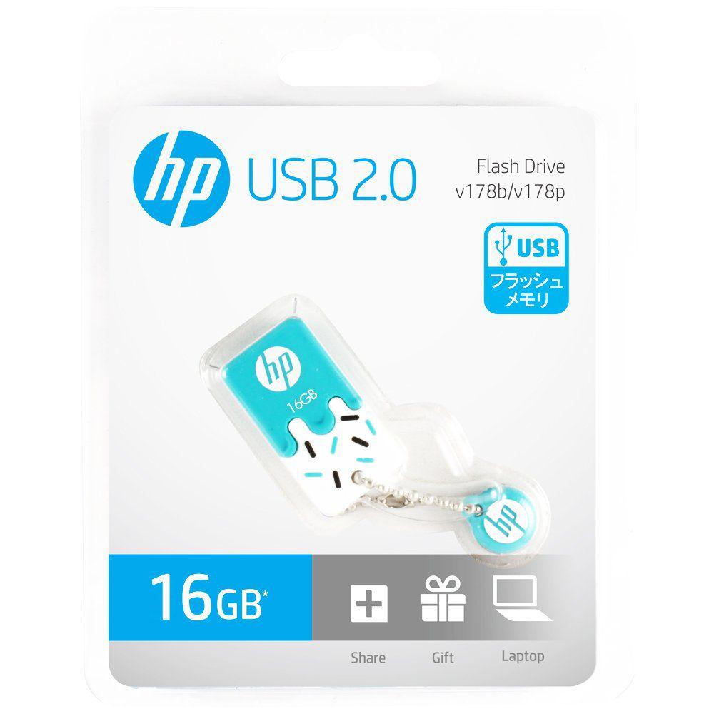 Pen Drive HP 16GB Sorvetinho USB 2.0 mini Azul V178B Prova d
