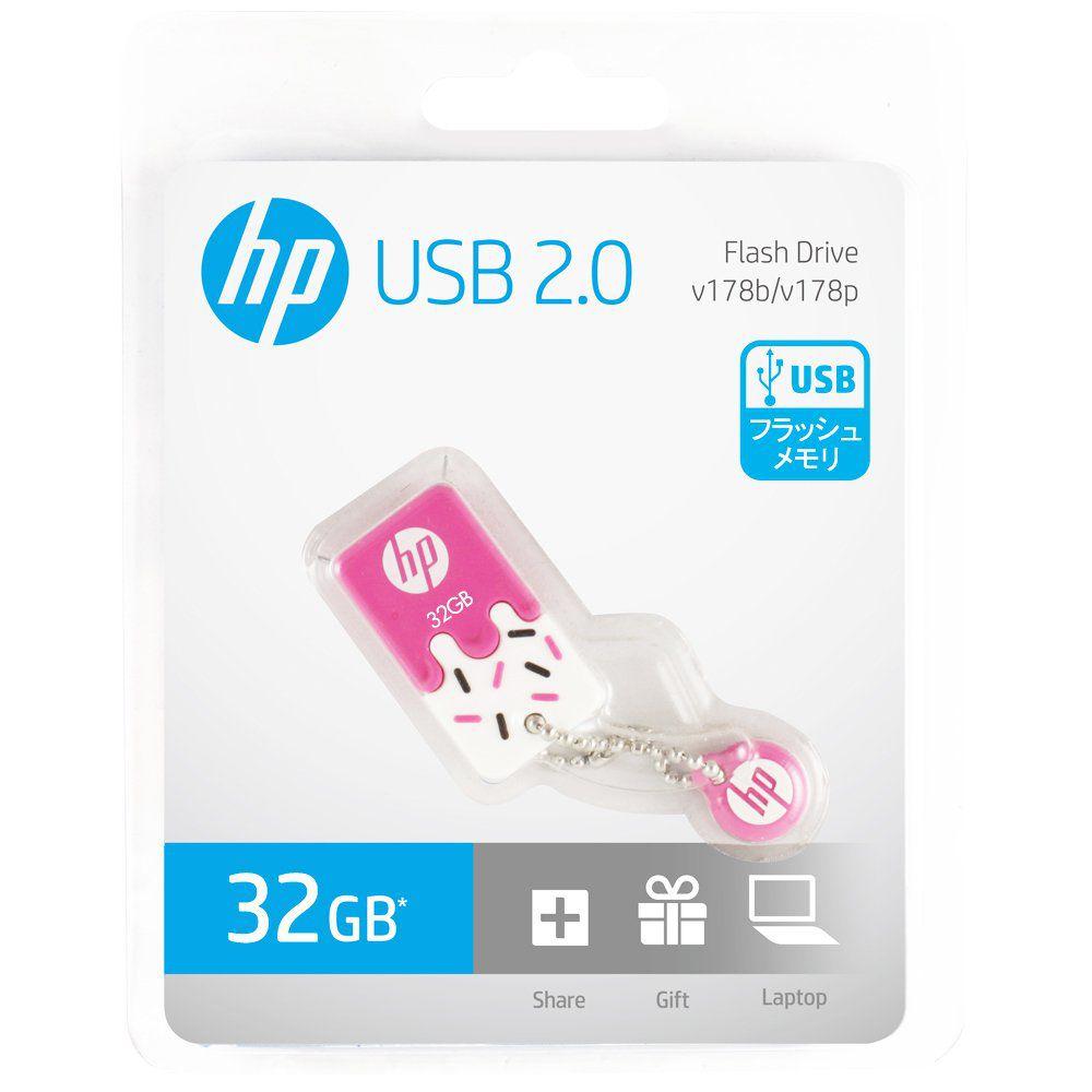 Pen Drive HP 32GB Sorvetinho USB 2.0 Mini Rosa V178P Prova d