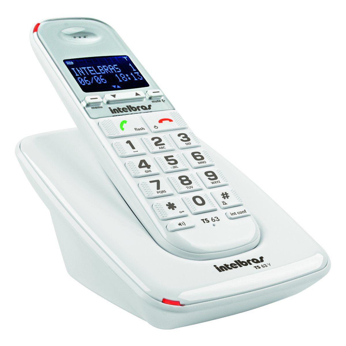 Telefone Sem Fio DECT 6.0 com Identificador de Chamadas e Viva Voz TS 63V Branco Intelbras  - ShopNoroeste.com.br