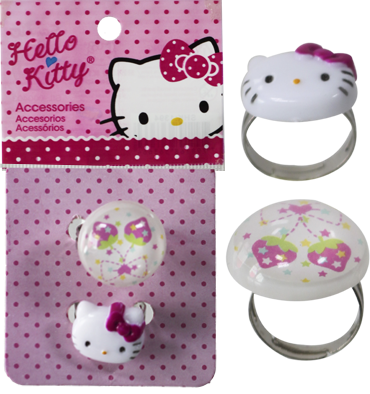 ANEL DE METAL  COM APLIQUE DA HELLO KITTY PCT C/ 12 PARES - SHK1373  - Bijunova Import