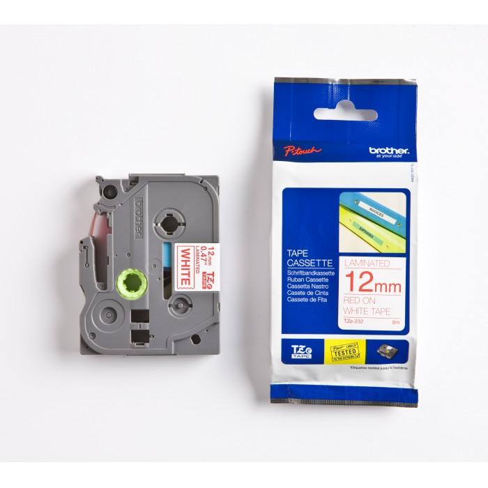 Fita Rotulador Brother TZE-232 12mm Vermelho/Branco