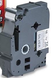 Fita Rotulador Brother TZES-941 18mm Preto/Prateado Extra Forte