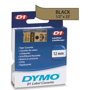 Fita Dymo D1 45023 Poliéster 12mm Preto/Dourado