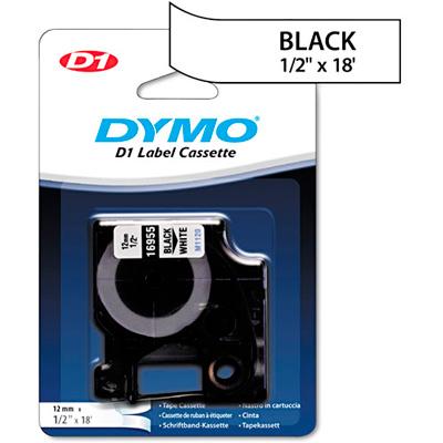 Fita Dymo D1 16955 Extra Forte 12mm Preto/Branco