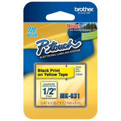 Fita Rotulador Brother 12mm MK-631 Preto/Amarelo