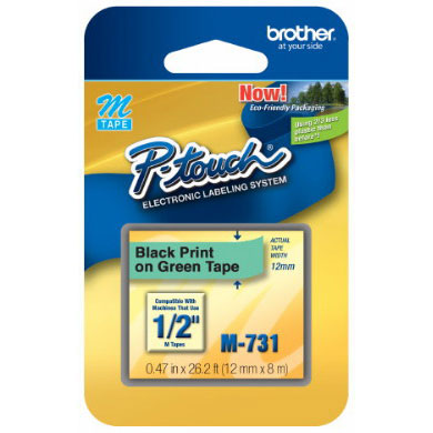 Fita Rotulador Brother 12mm M-731 Preto/Verde