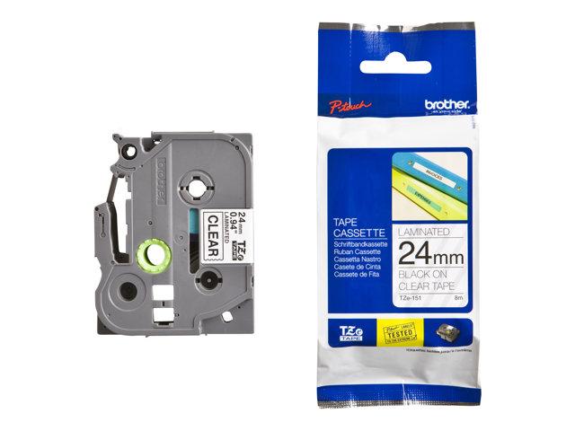Fita Rotulador Brother TZE-151 24mm Preto/Transparente