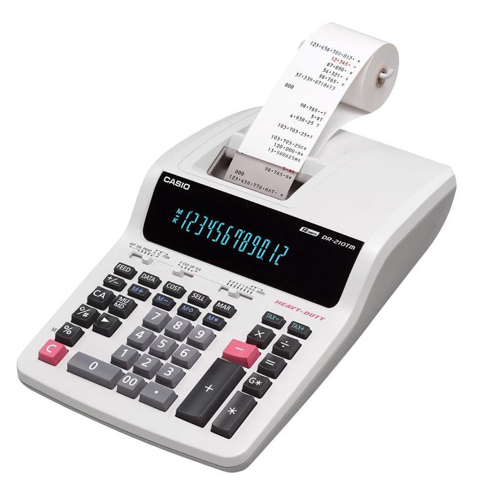 Calculadora c/ Bobina Casio DR-210TM 12 Dígitos 2 Cores Impressão 110V