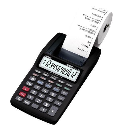 Calculadora c/ Bobina Casio HR-8TM 12 Dígitos Portátil Sem Fonte