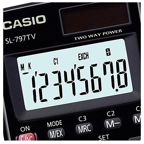 Calculadora de Bolso Casio Preta 8 Digitos Sol/Bateria SL-797TV-BKWDH