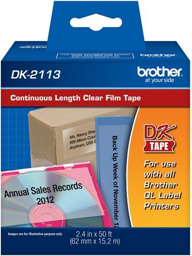 Etiqueta Brother DK-2113 Filme Transparente 62mm x 15m