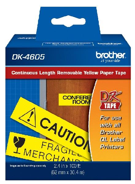 Etiqueta Brother DK-4605 Amarelo Rolo Contínuo 62mm x 30m