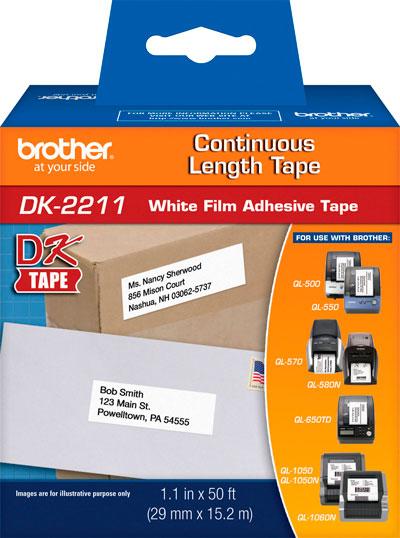 Etiqueta Brother DK-2211 Filme Branco 29mm x 15m