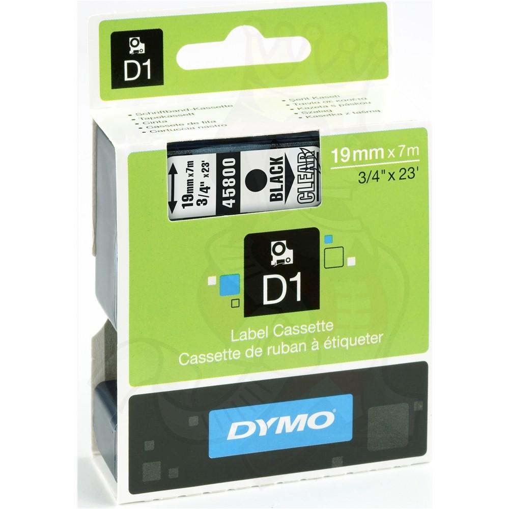Fita Dymo D1 45800 Poliéster 19mm Preto/Transparente
