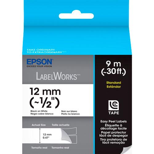 Fita Rotulador Epson LC-4WBN9 12mm Preto/Branco
