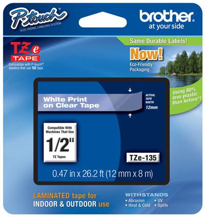 Fita Rotulador Brother TZE-135 12mm Branco/Transparente