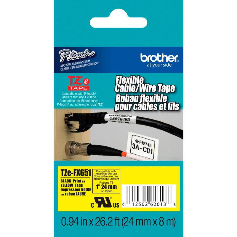 Fita Rotulador Brother TZEFX-651 24mm Preto/Amarelo Flexível