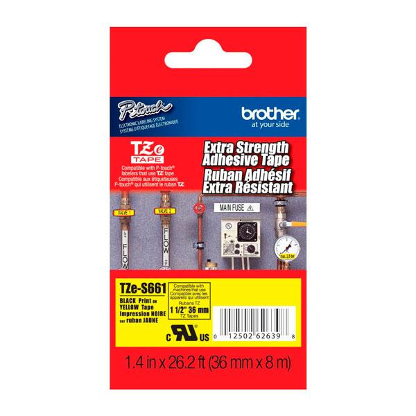 Fita Rotulador Brother TZes-661 36mm Preto/Amarelo Extra Forte