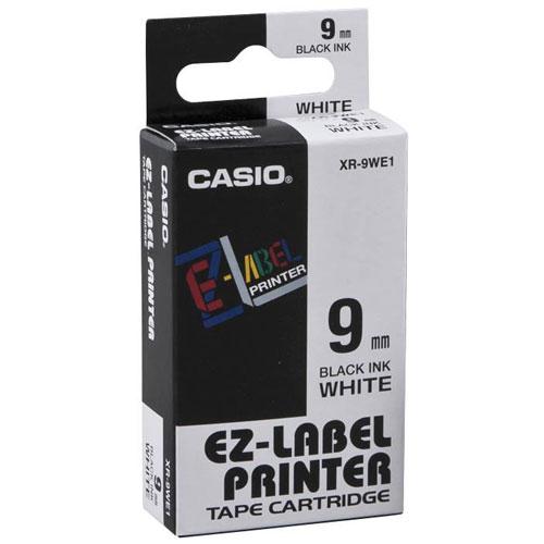 Fita Rotulador Casio XR-9WE1 9mm Preto/Branco