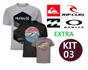 KIT 03 CAMISETA EXTRA DE SURF