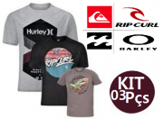 KIT 03 CAMISETAS DE SURF