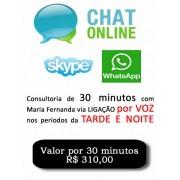 Consultoria Skype Whatsapp digitando ou voz  Período Noturno 30 Minutos.