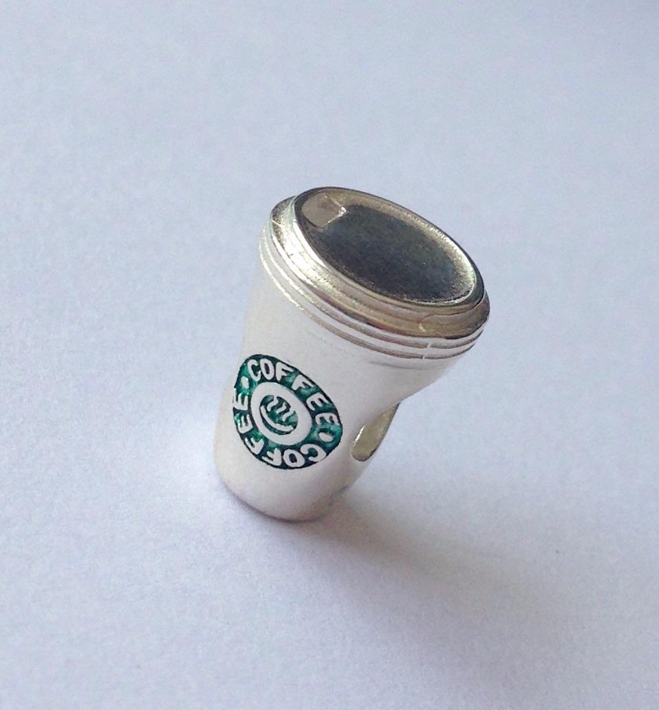CAFÉ/ COFFEE STARBUCKS MÉDIO PRATA 925 E ESMALTE.